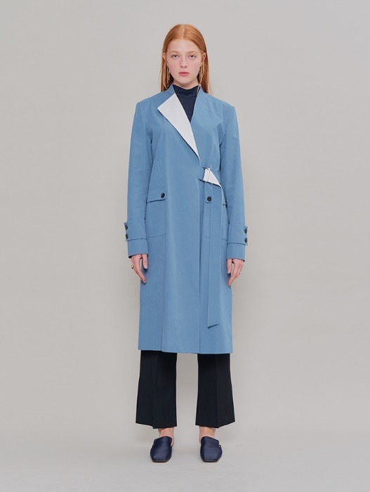 [HEINIQUE] A Collar Trench Coat (Bonnie Blue White)