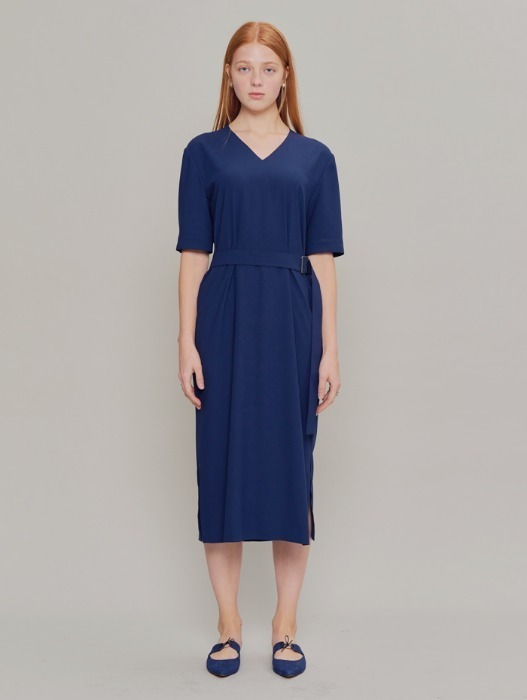 [HEINIQUE] Back Pleats Dress (Navy)