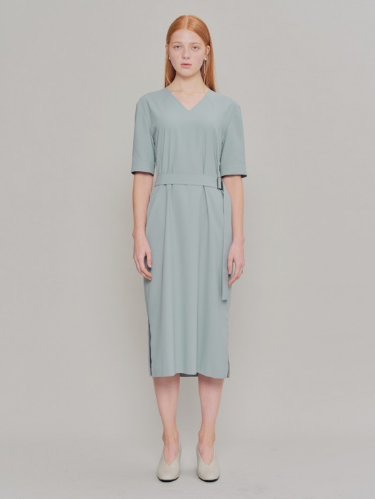 [HEINIQUE] Back Pleats Dress (Grey Mint)