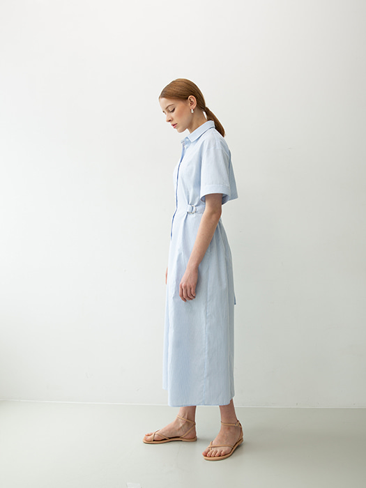 [Order Made]  Stripe Long shirt dress