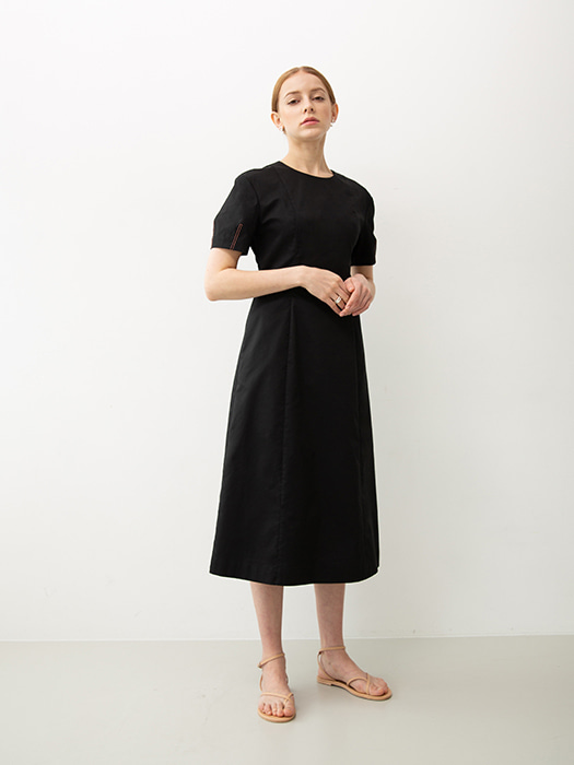 [Capsule Line]  Volume sleeve dress (Black)